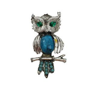 Owl Brooch Faux Turquoise Blue Silver Tone Rhinest